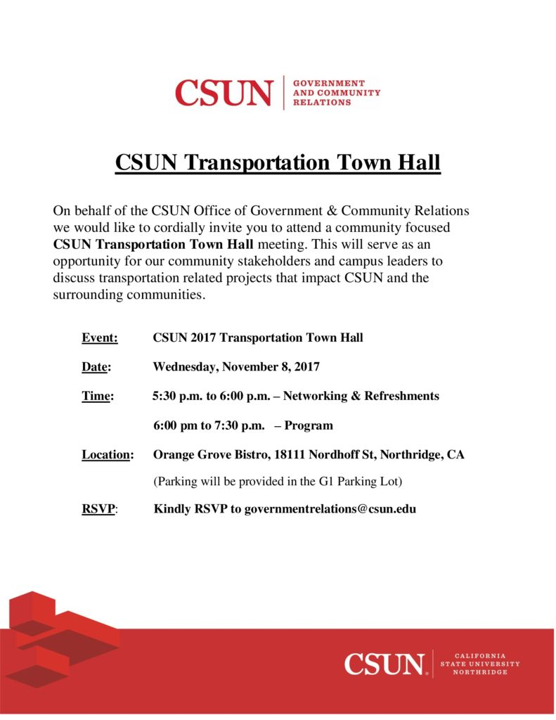thumbnail of CSUN Transportation Town Hall – Invite Fyer