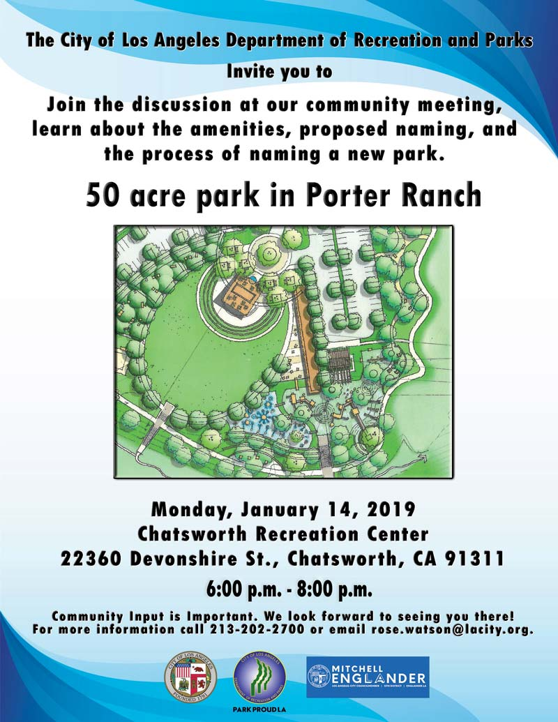 Community Meeting- Naming of New Porter Ranch Park