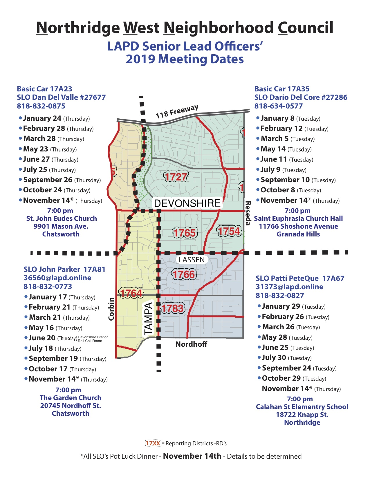 Northridge West NC SLO 2019 Map