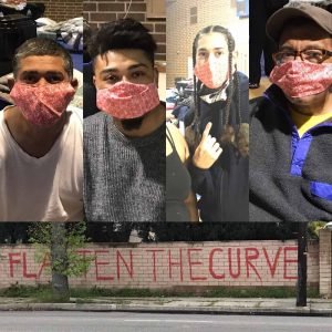 flatten the curve and people wearing masks