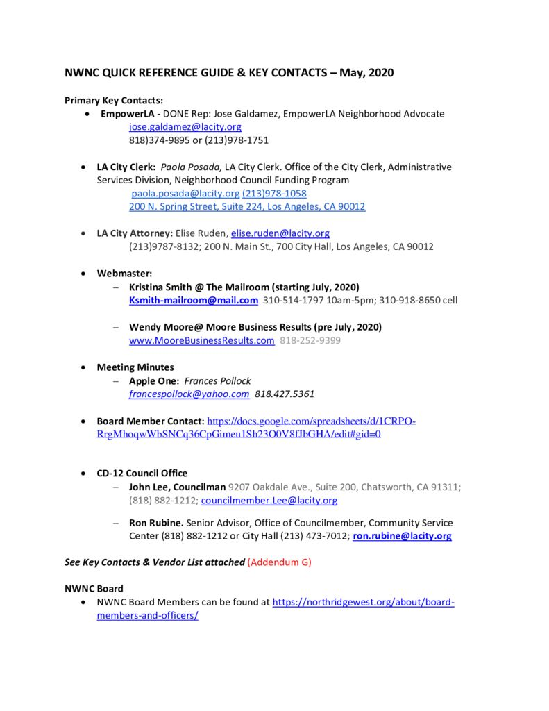 thumbnail of NWNC Quick Ref Guide & Key Contacts DRAFT